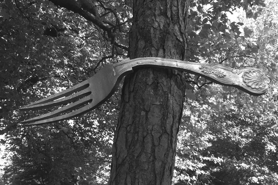 Giant fork on a tree